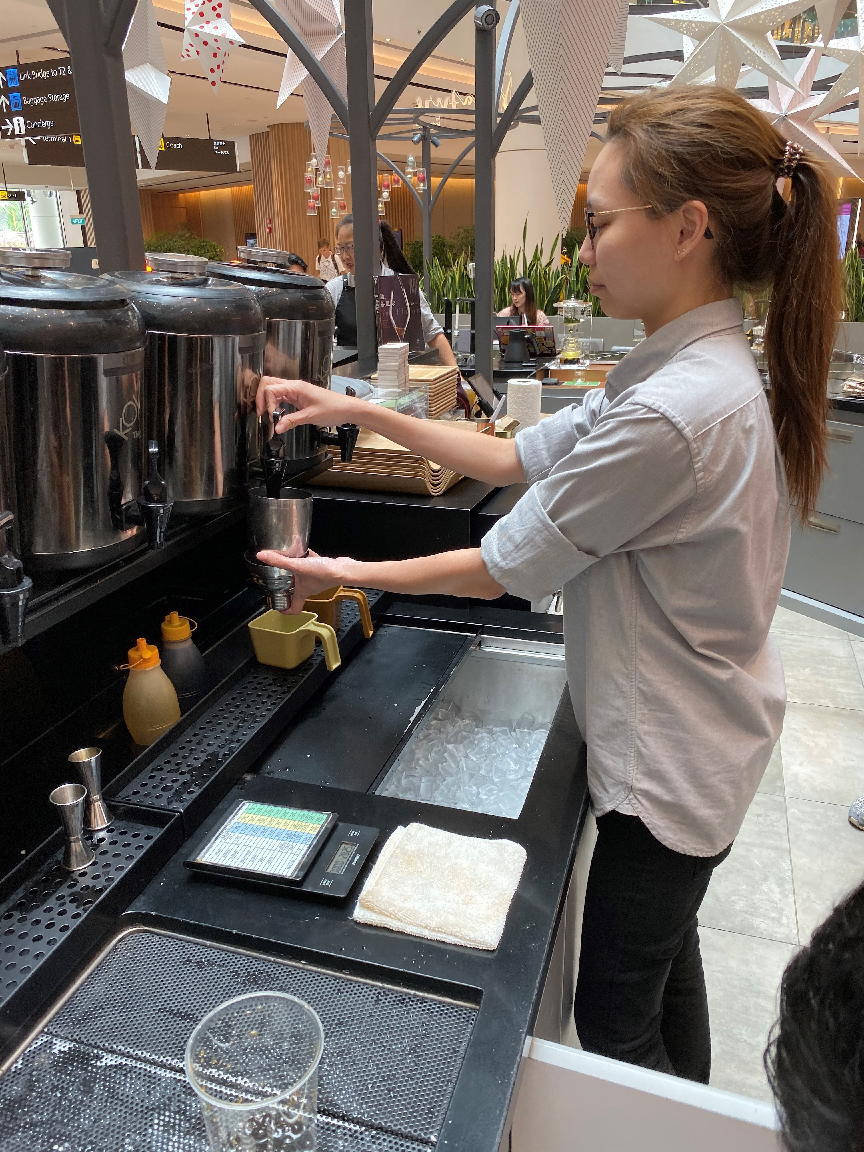 Ms Mindy Yeo went through three months of on-the-job training which included workshops on tea-brewing and customer service