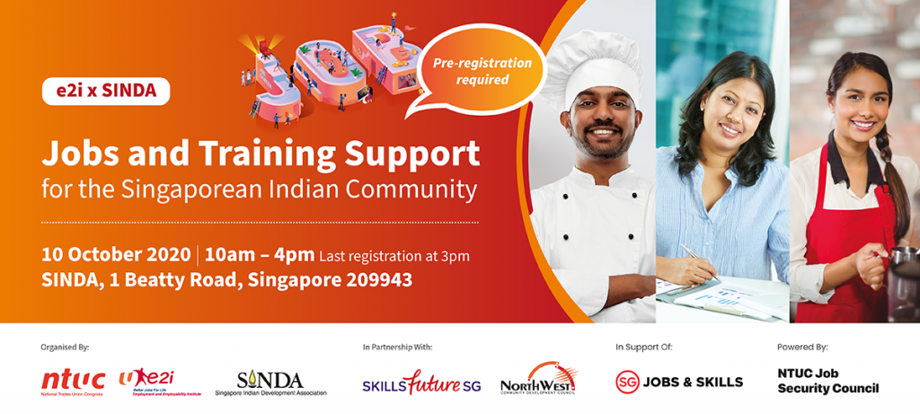 e2i x SINDA - Jobs and Training Support for the Singaporean Indian Community 10 Oct 2020